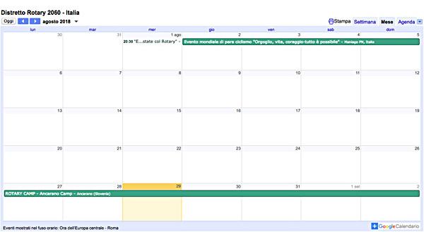 Calendario 2060.Calendario Eventi Distretto Rotary 2060